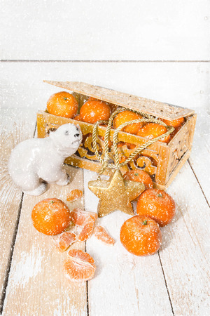 Festive fruit on the table under the snow photo