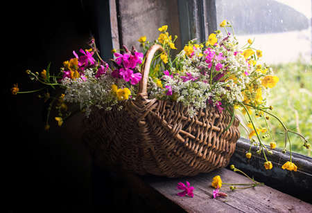 window sill: Armfuls  wildflowers in a basket on an old window sill.