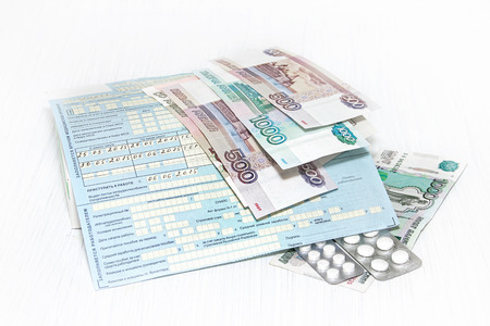sick leave: Blank sick leave for benefits in Russia, money and tablets