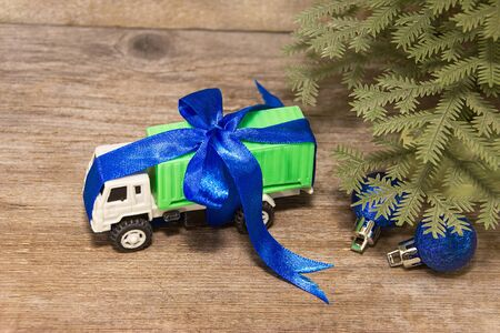 Cargo transport have luck gifts for the New Year Stock Photo