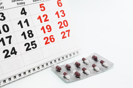 blister: Tablets in blister and calendar Stock Photo