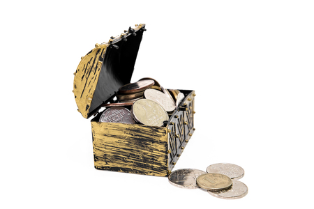 accumulations: Full chest with money on a white background. Accumulations