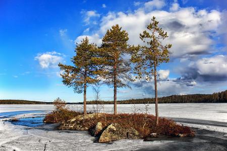pista: Spring landscape. Spilling the Pista River. Lake Hirvas. Russia. Karelia