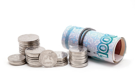 Russian rubles on a white background Stock Photo