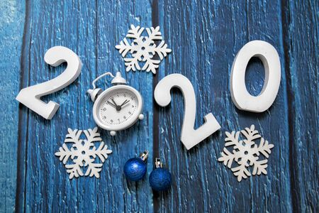 Happy New Year. 2020 numbers on blue background