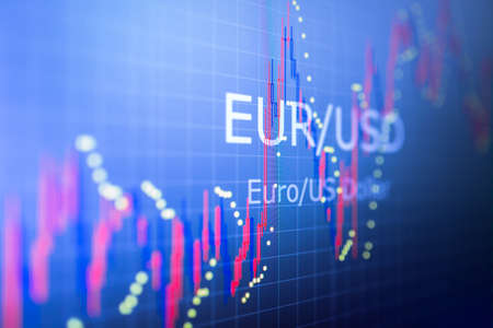 Data analyzing in foreign finance market: the charts and quotes on display. Analytics in pairs GBP  USD Stock Photo