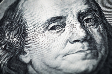 Portrait of Benjamin Franklin close-up shots in macro lens from one hundred dollars banknote