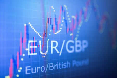Data analyzing in foreign finance market: the charts and quotes on display. Analytics in pairs EUR  GBP Stock Photo