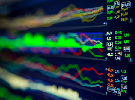 Data analyzing in forex market: the charts and quotes on display. Analytics U.S. dollar index DXYO. Stock Photo