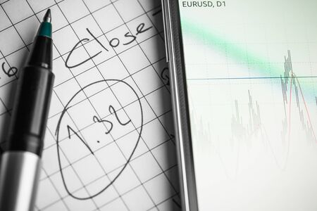 Data analyzing in forex market: the charts and quotes on smartphone display. Analytics pair U.S. dollar \ Euro.