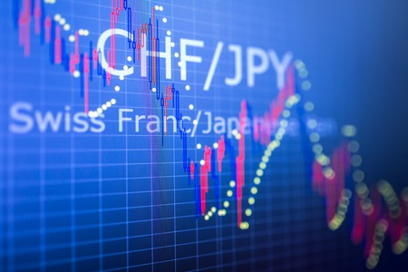 Data analyzing in foreign finance market: the charts and quotes on display. Analytics in pairs CHF  JPY Stock Photo