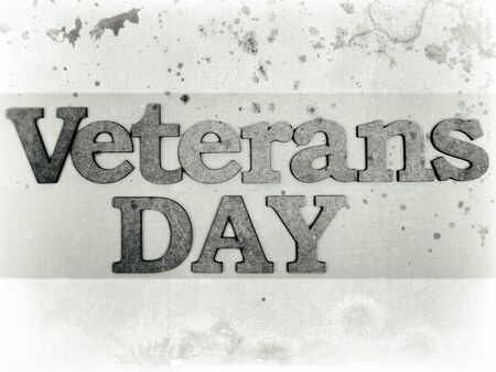 lint: Veterans day banner. Veterans Day inscription stylized background as old bw sepia toned photos. Stock Photo