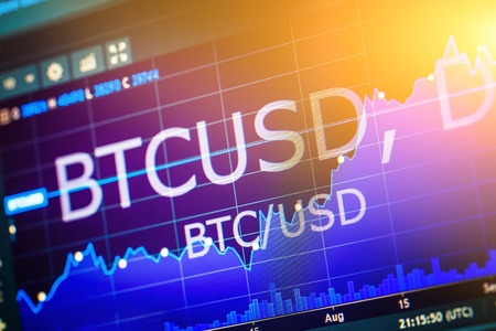Data analyzing in exchange stock market: the charts and quotes on display. Analytics pair BTC-USD (Bitcoin  US Dollar), the most popular bitcoin pair in the world. Zdjęcie Seryjne
