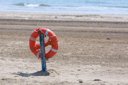 Lifebuoy. The famous Lido Beach in Venice, Italy.