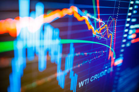 Data analyzing in commodities energy market: the charts and quotes on display. US WTI crude oil price analysis. Stunning price drop for the last 20 years. Foto de archivo