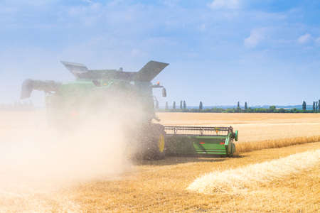 The machine for harvesting grain crops - combine harvester in action on rye field at sunny summer day. Agricultural machinery theme.