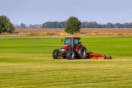 Industrial production of lawn grass in rolls. Trimmed field, resistant to mechanical impact and drought of green lawn grass. A tractor with a mower goes through the field, mows and mulches the grass. Imagens