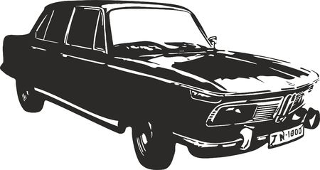 bmw: Vector illustration of an old car