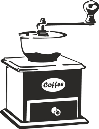 Vector illustration of an old coffee grinder