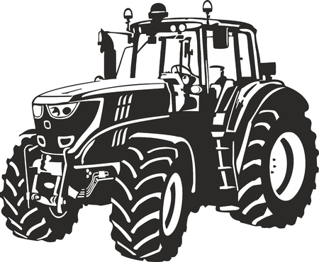 Vector illustration of an tractor  Çizim