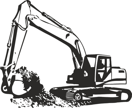maschine: Vector illustration of an excavator