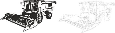 combinar: Ilustración vectorial de una cosechadora.