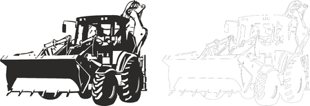 front loading: illustration of an bulldozer.