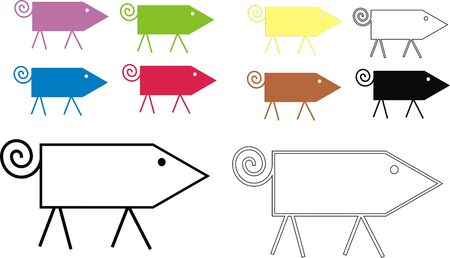 A simple illustration of colorful pigs