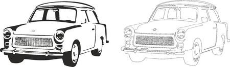 Vector illustration of an old car trabant. Illustration