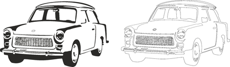 Vector illustration of an old car trabant. 向量圖像