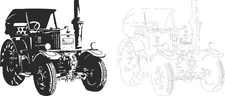 old tractor: Vector illustratie van een tractor.