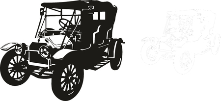 Vector illustration of an old car. Vector