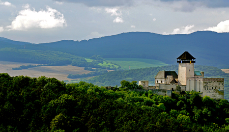 Castle in trencin, slovakia.with green countryside