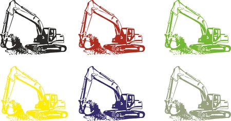 dredger: colour Excavator icon on white background