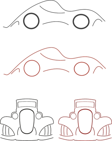 old car vector ilustration lines