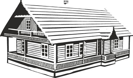 illustration of an wood house.