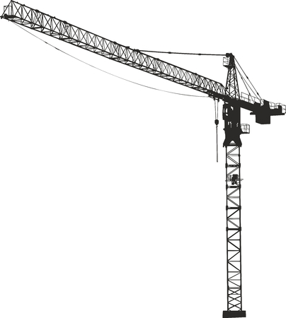 Vector Crane. Silhouette on a white background.