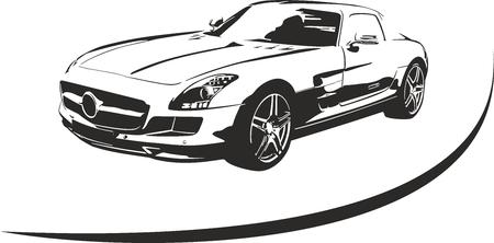 Silhouet van de sportwagen voor sport Stockfoto - 41961446