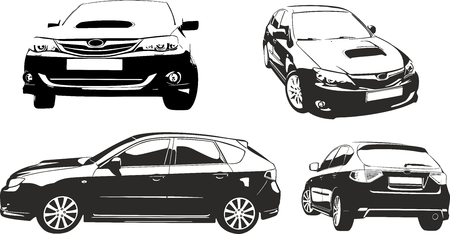 Black and vhite car vector ilustratiaon