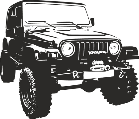 jeep: Offroad vehicle in black color Illustration