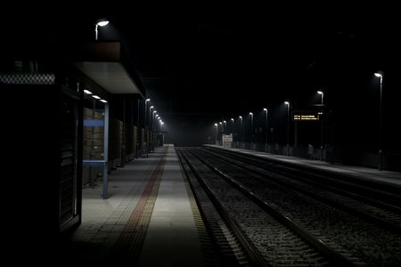 abandoned and Night Train station
