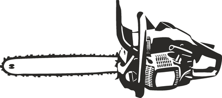 chainsaw vector clip art contour lines illustration isolated on white