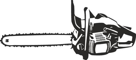 motosierra clip art curvas de nivel de la ilustración aislado en blanco