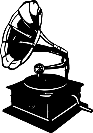 Vector illustration of retro gramophone. The image is ready for cutting plotter