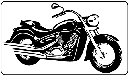 Chopper motorcycle white background black and white vector illustration.