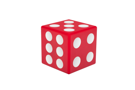 Red dice with white dots isolated