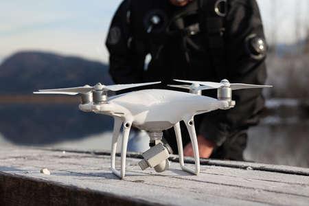 Drone Crash - Diver Next to a Retrieved Drone