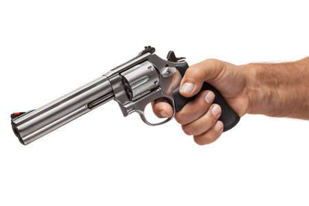 Man Pointing a Revolver, Isolated On White Background Stock Photo