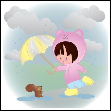 Cute Rainy Day Illustration Illusztráció