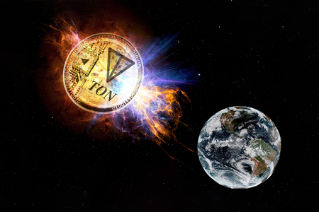 Gold coin of TON falls to the ground from space. TON attack earth.